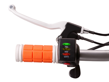 gripping bars: Close-up of control handle of electric bike with brake crank battery indicator and power switch isolated on white