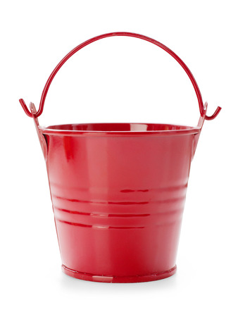 red metal: Red toy bucket isolated on white with clipping path Stock Photo