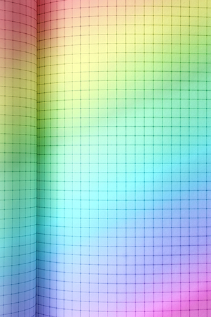 grid paper: Rainbow colored grid squared paper. Open notebook close-up Stock Photo
