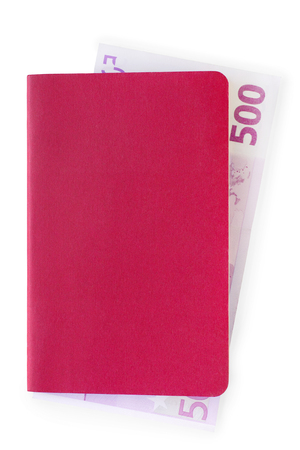 stash: Blank red passport liked document or notebook cover with nested euro note in it. Bribe or stash concept. Isolated on white with clipping path