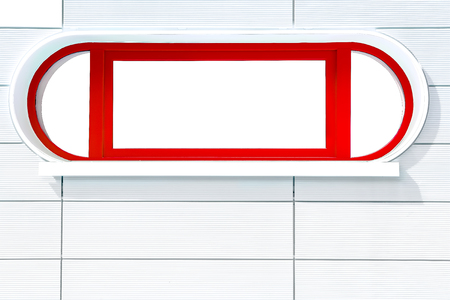 stripped: Red  rounded futuristic porthole-liked window on white stripped wall at a sunny side