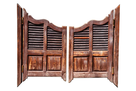 Old rough wooden saloon doors isolated on white with clipping path