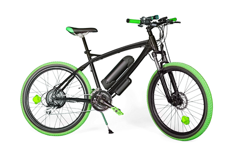 Black and green electric bike isolated on white