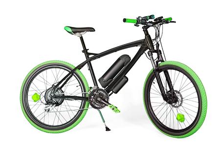 motorizado: bicicleta eléctrica y negro verde aislado en blanco