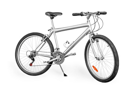 unpainted: Silver colored unpainted entry-level mountain bike isolated on white with clipping path