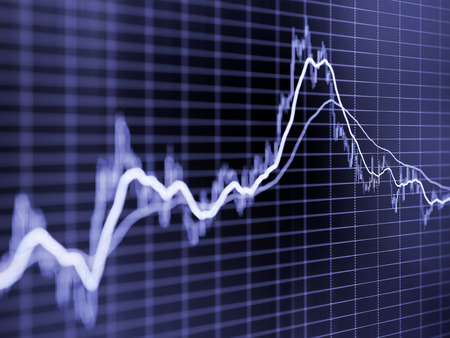 diminishing perspective: Stock market graph. Toned blurred image with diminishing perspective and selective focus