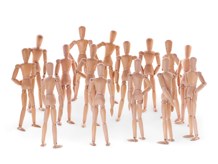 dummies: Group of wooden dummies. Group of people, crowd, community or social event concept. On white background