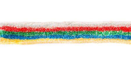 sparkled: Multicolored sparkled glitter glue line. On white background Stock Photo