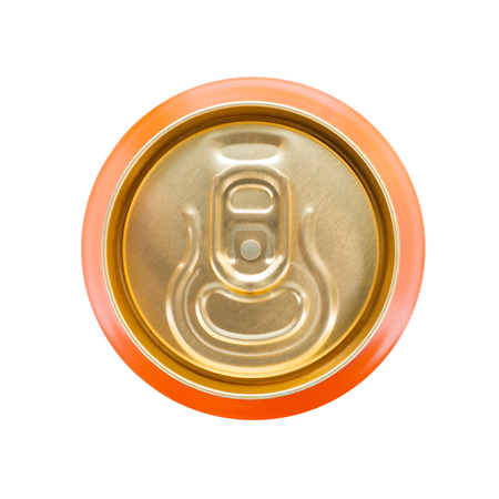 can opener: Orange soft drink can. Stock Photo