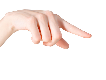 dictatorial: Pointing finger. Isolated on white, clipping path included