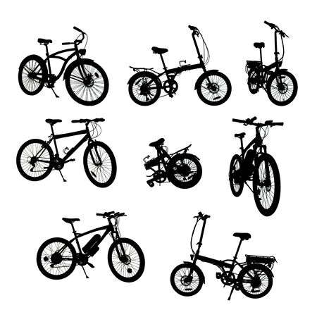 Bikes silhouettes collection. Traditional and electric ones. On white,