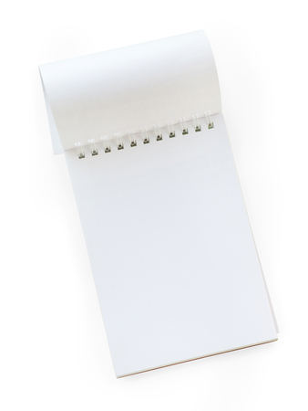 diagonal diary education: Blank spiral notepad with turned page. Top view, isolated on white