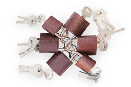 Small linked padlocks with keys. On white, clipping path included. Security, links, tickler, overuse and overcompliance theme  Stock Photo