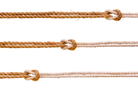 Three rough ropes with reef knot set. Isolated on white