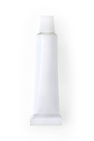 Small white metallic tube. Isolated on white, clipping path included