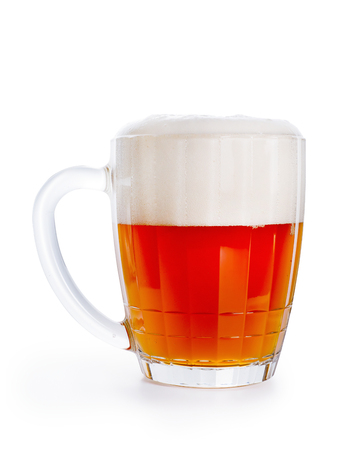 Transparent unfiltered beer mug with foam. Isolated on white, clipping path included