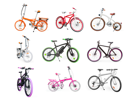 Different bikes collection. Set of electric, urban, cruiser, MTB and folding bikes isolated on white Stock Photo