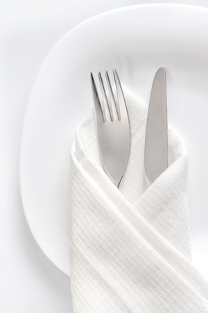 Fork And Knife On White Plate. Table Setting Close Up, Top View ...