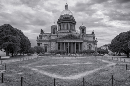 Saint Isaac cathedral in Saint Petersburg, Russia. Dramatic black and white photo Stock Photo