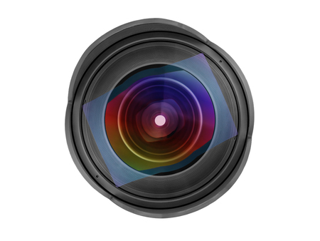 Large wide angle photo lens front view. Close up isolated on white, clipping path included