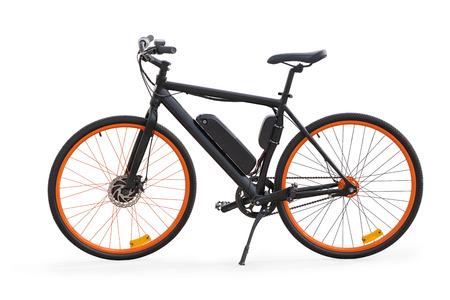 Vista laterale della bici elettrica nera. Isolato su bianco, percorso di ritaglio incluso Archivio Fotografico