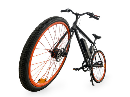 Black electric bike wide angle view. Isolated on white, clipping path included Stock Photo