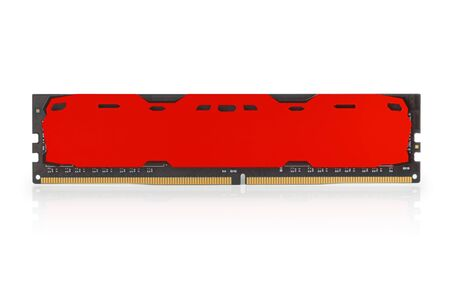 Modern red DDR RAM memory module with blank case. Isolated on white, clipping path included