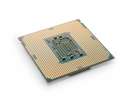 CPU close up with selective focus. Isolated on white, clipping path included