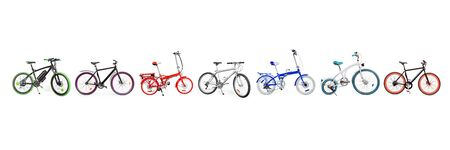 Different bikes collection. Set of electric, urban, cruiser, MTB and folding bikes placed in single line. isolated on white, clipping path included