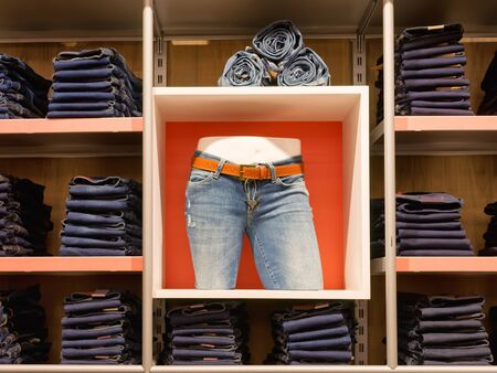 Jeans shop scene. Many jeans on shelves and one on the mannequin