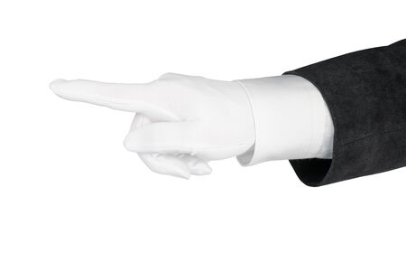 Man hand in black suit and white gloves pointing finger. Isolated on white, clipping path included Stock Photo