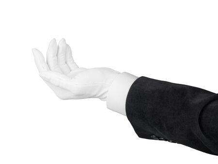 Close up of open man hand in black suit and white glove giving or demanding something. Isolated on white background with clipping path Stock Photo