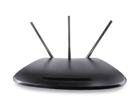 Black wifi router in wide angle perspective. Isolated on white, clipping path included
