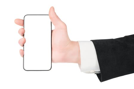 Man in white shirt and black suit hand holding smartpone. Copy space on the phone. Isolated on white, clipping path included
