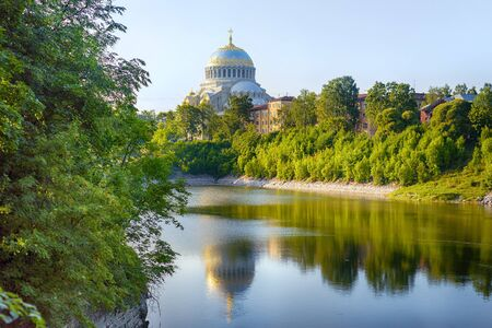 Summer landscape with lake and Naval cathedral in Kronstadt, Saint Petersburg, Russia Stock Photo