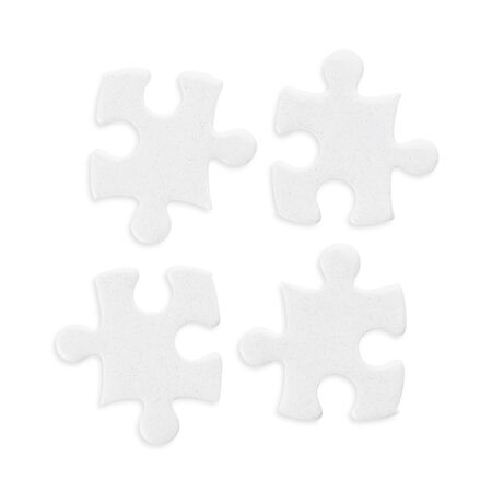 Four white jigsaw puzzle pieces set. Isolated on white, clipping path included