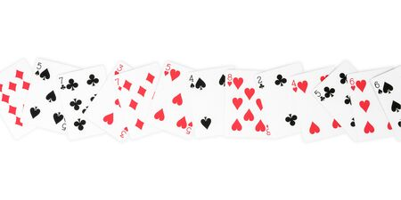 Palying cards row isolated on white, clipping path included