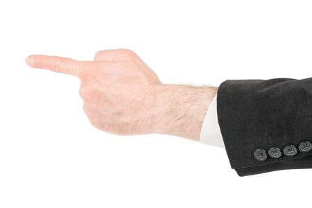 Man in suit hand making pointing finger gesture. Isolated on white, clipping path included