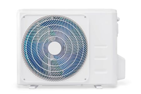 White air conditioning compressor unit. Isolated on white, clipping path included Stock Photo