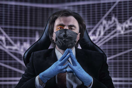 Cold-tempered calm businessman with a bruise on his face in an official suit, medical mask and gloves against the blurred stock chart. Keeping calm against crisis, epidemic, bad luck and accident theme