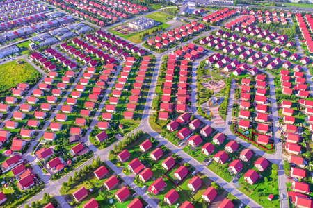 Housing in large suburban area aerial panoramic view Stok Fotoğraf