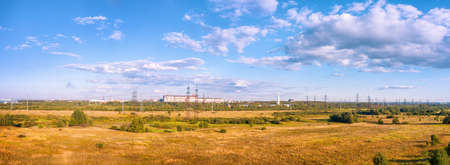Industrial landscape with fields, industrial zone and high voltage power line. HDR panoramic view Stok Fotoğraf