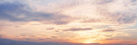 Sunset clouds in the sky. Natural panoramic texture and background Stok Fotoğraf