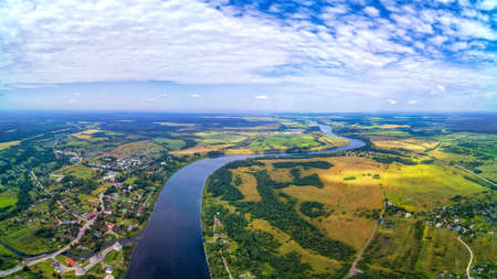 Rural aerial landscape in Russia with fields and village. Large panoramic view 版權商用圖片
