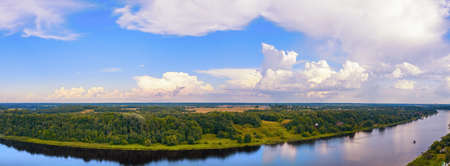 Forest, fields and Volhov river in Russia .. Ultra wide aerial panoramic landscape