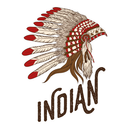 native american indian chief: Native american indian chief headdress. illustration. Vintage t-shirt design or print