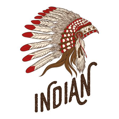 indian chief headdress: Native american indian chief headdress. illustration. Vintage t-shirt design or print