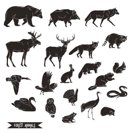 Dieren in het bos silhouetten vintage. Vector illustratie in lijntekeningen geïsoleerd Stock Illustratie