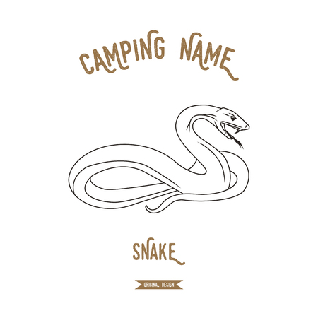 asp: Viper. Snake vector illustration. European animals silhouettes vintage.