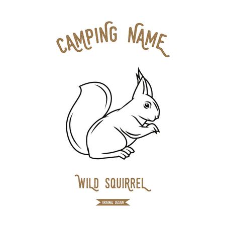Illustration vectorielle de l'écureuil. Silhouettes d'animaux européens vintage.